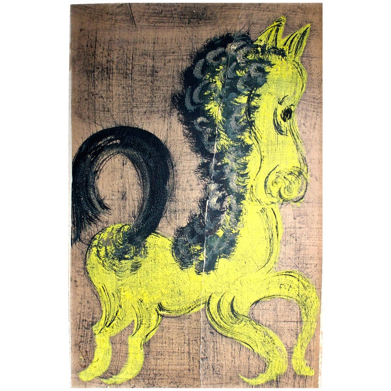 'Chucho' Reyes Gouache of a Horse on Mounted Paper For Sale