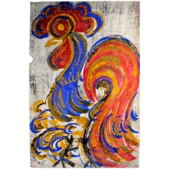'Chucho' Reyes Signed Gouache on Paper of a Colorful Rooster