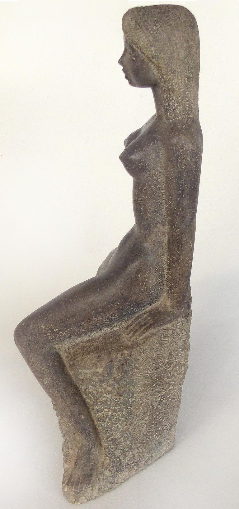 Mid-Century Modern Chuck Dodson Cast Composition Sculpture of a Seated Nude, American, circa 1970s For Sale