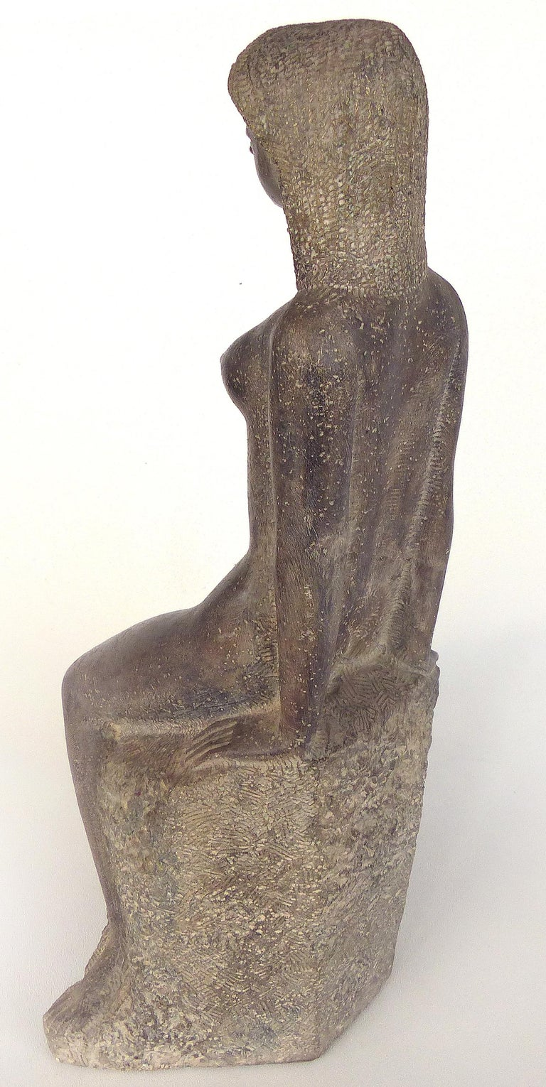 Late 20th Century Chuck Dodson Cast Composition Sculpture of a Seated Nude, American, circa 1970s For Sale