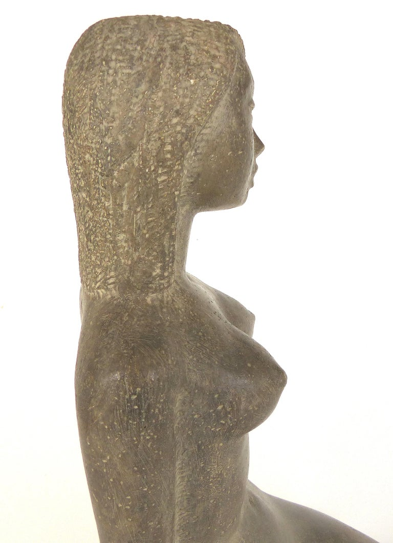 Chuck Dodson Cast Composition Sculpture of a Seated Nude, American, circa 1970s For Sale 1