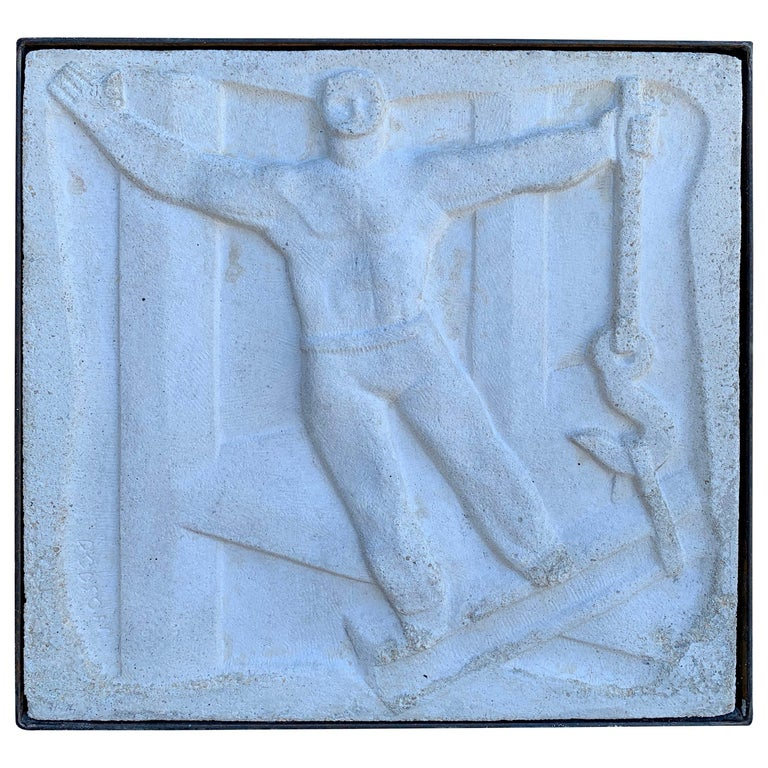Chuck Dodson Wall-Mounted Bas-Relief Art Deco Plaque For Sale