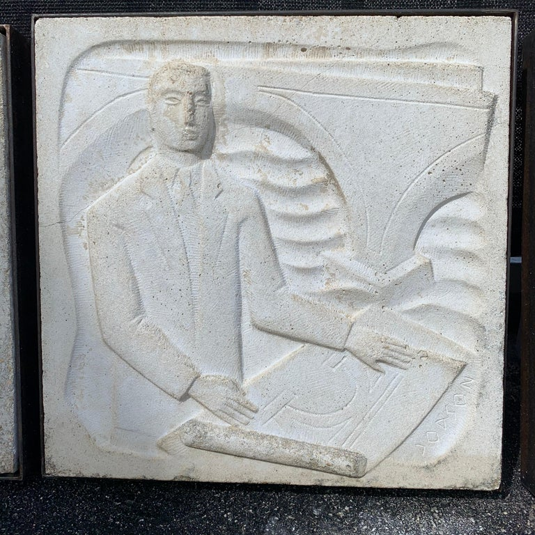 Chuck Dodson Wall-Mounted Cast Concrete Art Deco Plaque