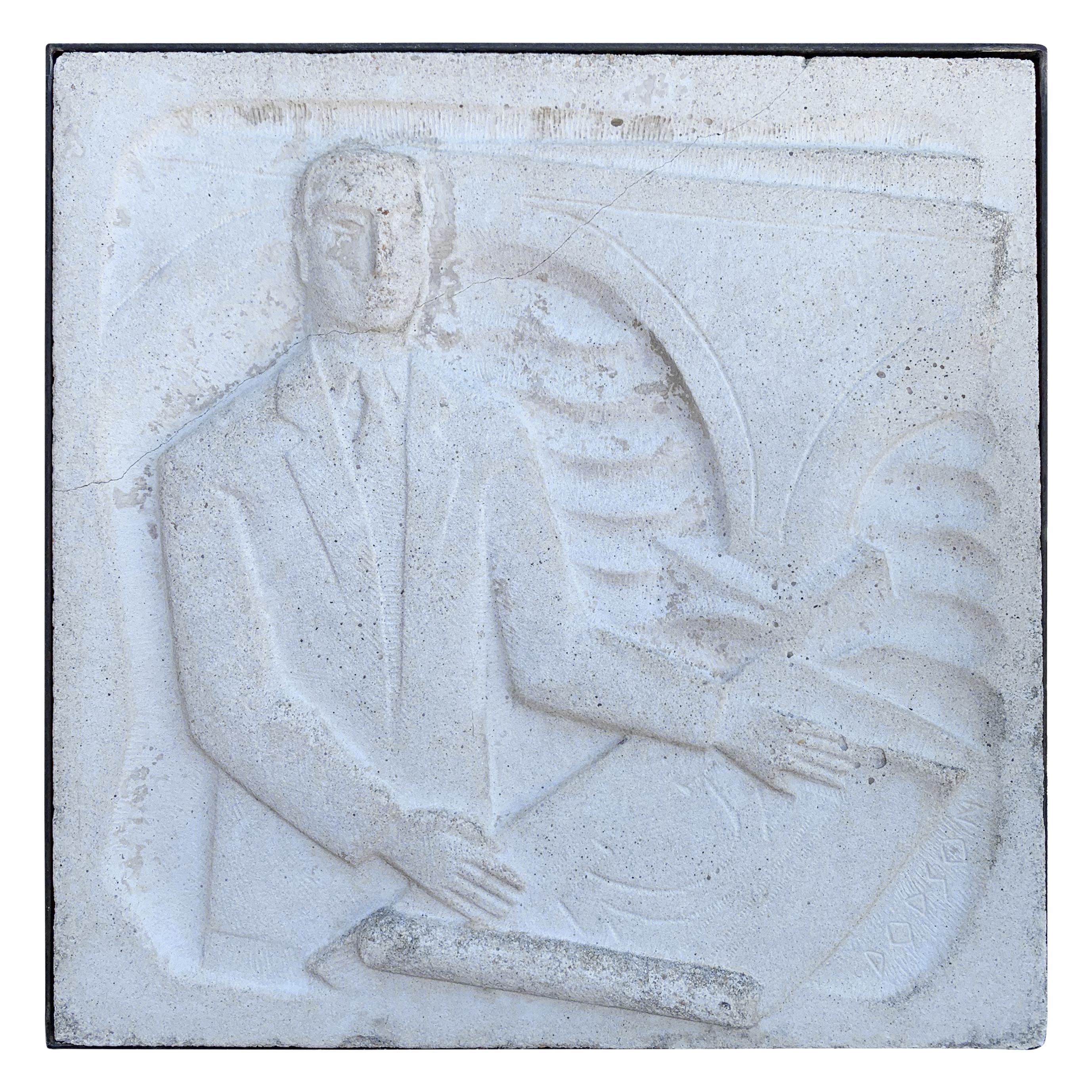 """Chuck Dodson Wall-Mounted Cast Concrete Art Deco Plaque """"Architect"""""""