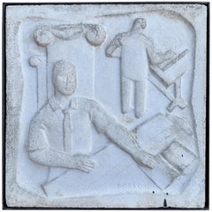 "Chuck Dodson Wall-Mounted Cast Concrete Art Deco Plaque ""Architects"""