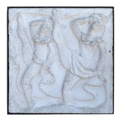"Chuck Dodson Wall-Mounted Cast Concrete Art Deco Plaque ""Dancers"""