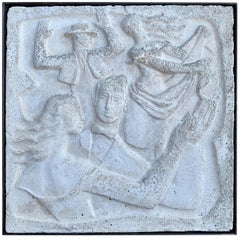 "Chuck Dodson Wall-Mounted Cast Concrete Art Deco Plaque ""Dancing Couples"""