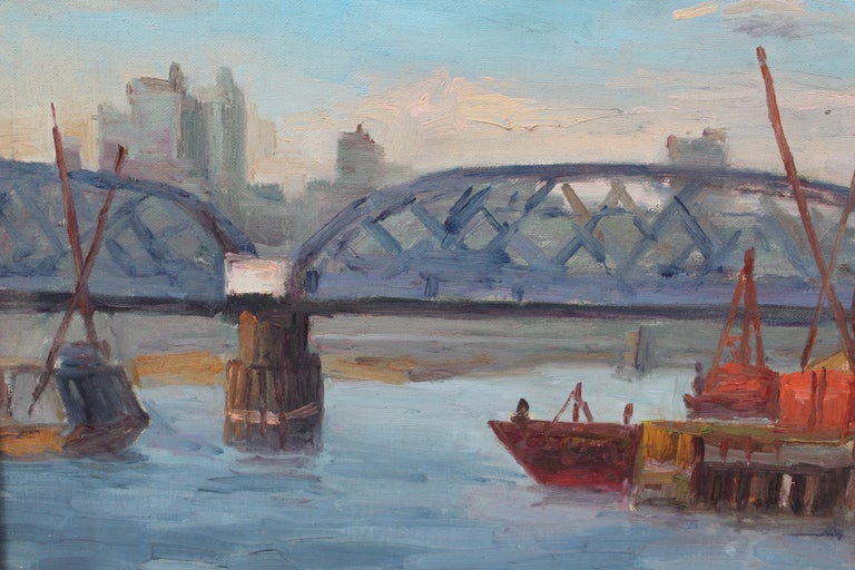 View of Willis Avenue Bridge - American Impressionist Painting by Chuck Fee Wong