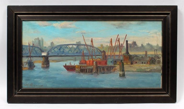 Chuck Fee Wong Landscape Painting - View of Willis Avenue Bridge