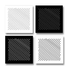 Waves—4 Artworks—original three dimensional geometric design wall reliefs