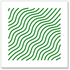 Waves (Green), original three dimensional geometric design wall relief
