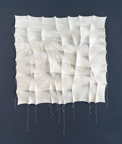 White Sand 1 - gray, white, pattern, wall hanging, 3D, felt, textile, tapestry