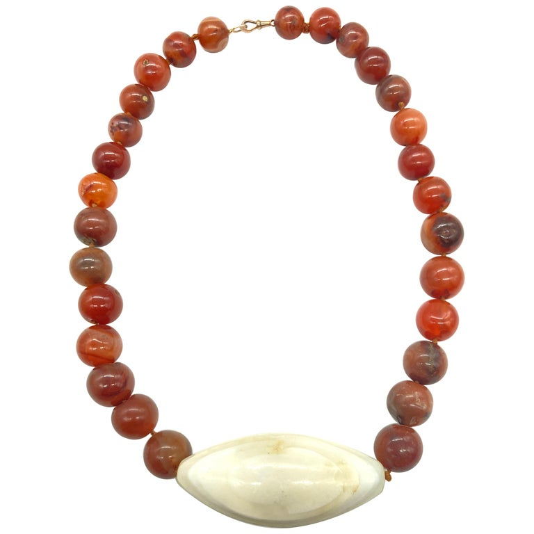 Bohemian Necklace 8mm-8.5mm Agate Plain Round Beads Necklace Tree Agate And Fire Agate Beaded Necklace Ethnic Tribal Jewelry- AMB-486