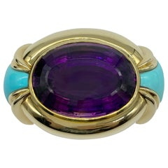Chunky Amethyst and Turquoise Buckle