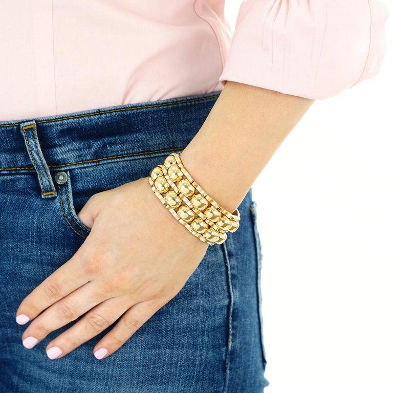 Chunky Art Deco Machine Age Gold Bracelet For Sale 5