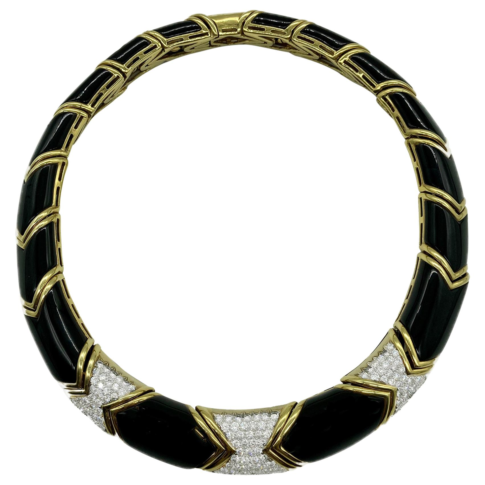 Chunky Black Onyx and Diamond Yellow Gold Necklace