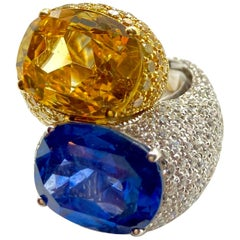 Chunky Blue and Yellow Sapphire Bypass Statement Ring with Diamonds