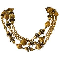 "Chunky Designer Gilt Chain ""metal dore"" Sphere Diamante Statement Necklace"