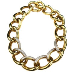 Seamless Chunky Diamond 18 Karat Gold Chain Necklace