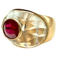 Chunky Faceted Rock Crystal and 4.82 Carat Ruby Yellow Gold Ring