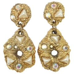 Chunky Gold Nugget Style Statement Earrings, 1980's