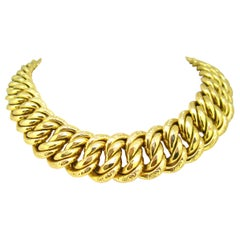 Chunky Graded American Links Gold Necklace Choker