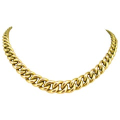 Chunky Graduated Curb Links Yellow Gold Necklace