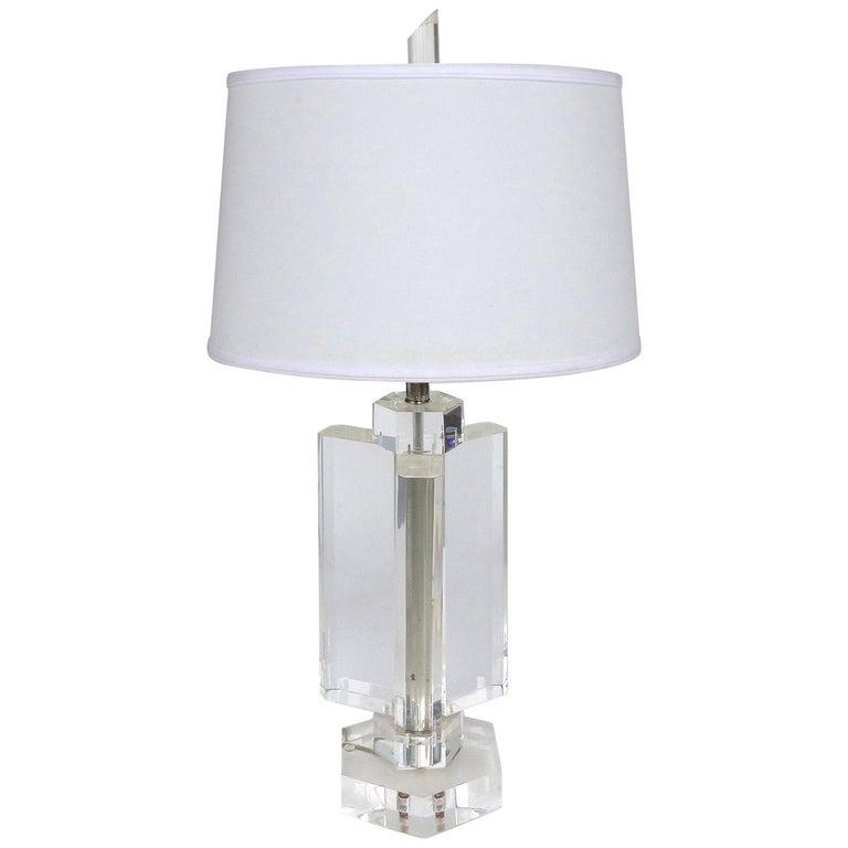 Chunky Heavy Vintage Karl Springer Style Lucite Table Lamp