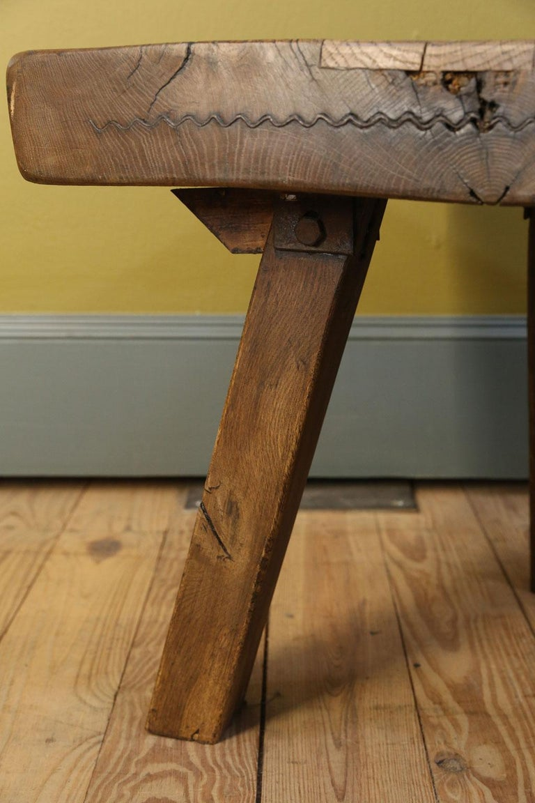Folk Art Chunky Massive Side Table or Stool For Sale