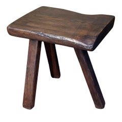Chunky Massive Side Table or Stool With a Primitive , Rustic Feel