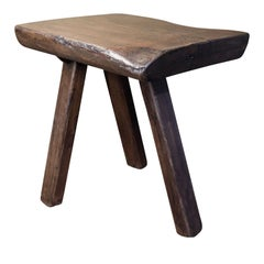 Chunky Massive Side Table or Stool With A Primitve, Rustic Design