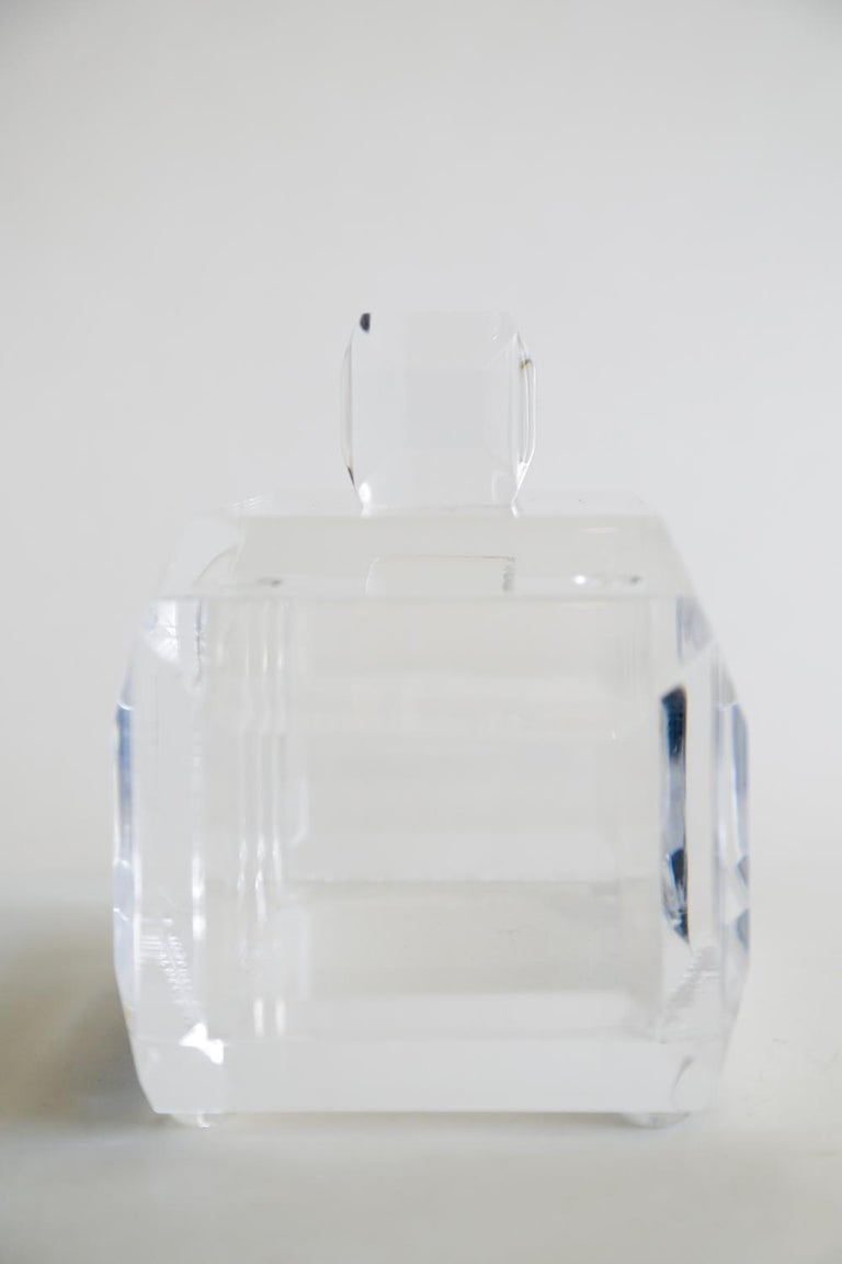 Chunky Monumental Lucite Box Vintage Desk Accessory For Sale 4