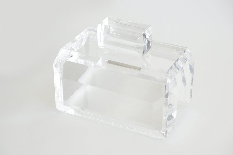 Chunky Monumental Lucite Box Vintage Desk Accessory For Sale 7