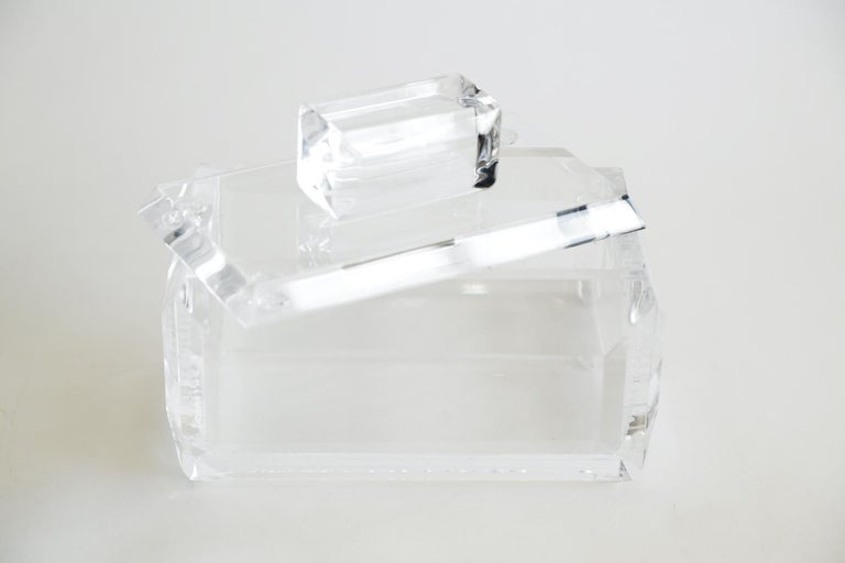 Chunky Monumental Lucite Box Vintage Desk Accessory For Sale 8