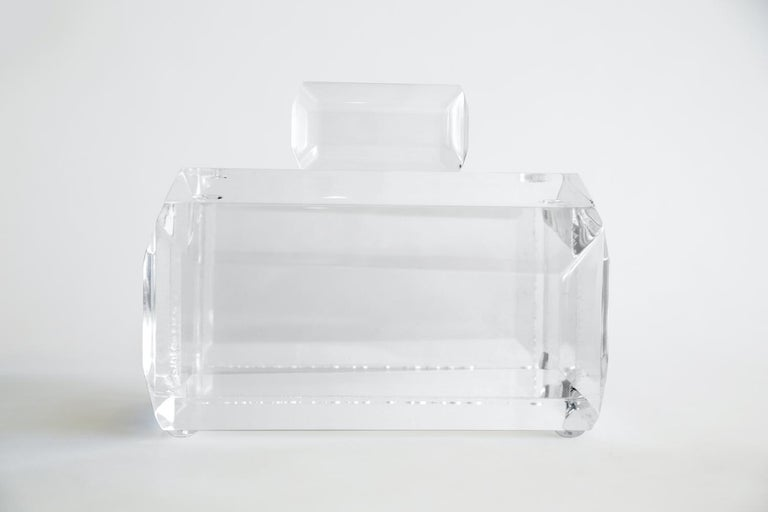 Chunky Monumental Lucite Box Vintage Desk Accessory For Sale 9