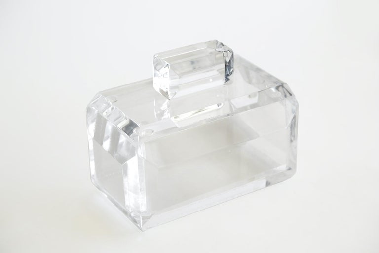 This fabulous monumental chunky vintage Lucite box has great presence. It is from the 1970s and could house colorful candies, marbles and etc. as a great decorative piece. Lucite is very hard to photograph as it is clear and reflects light. It has