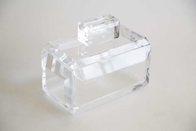 Modern Chunky Monumental Lucite Box Vintage Desk Accessory For Sale