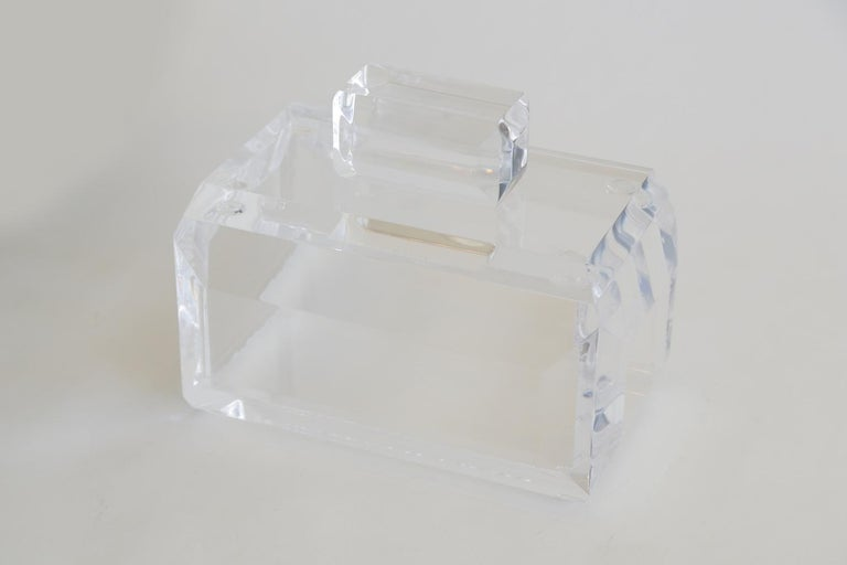American Chunky Monumental Lucite Box Vintage Desk Accessory For Sale