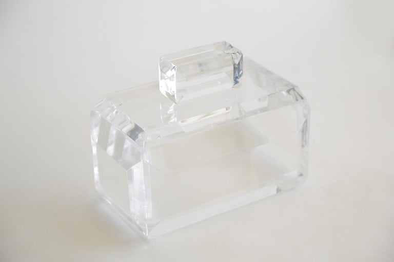 Late 20th Century Chunky Monumental Lucite Box Vintage Desk Accessory For Sale