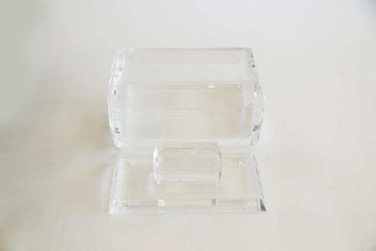 Chunky Monumental Lucite Box Vintage Desk Accessory For Sale 2