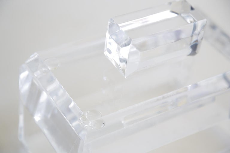 Chunky Monumental Lucite Box Vintage Desk Accessory For Sale 3