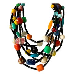 Chunky Multi-strand Colorful Bakelite Statement Necklace