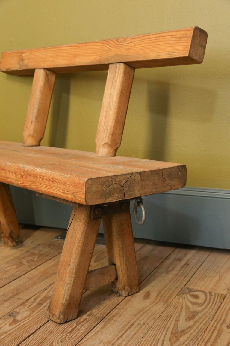 French Chunky Oak Rustic Bench with Primitive Hand-Made design  For Sale
