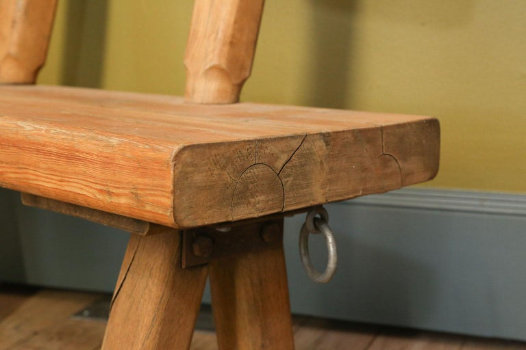 Hand-Carved Chunky Oak Rustic Bench with Primitive Hand-Made design  For Sale