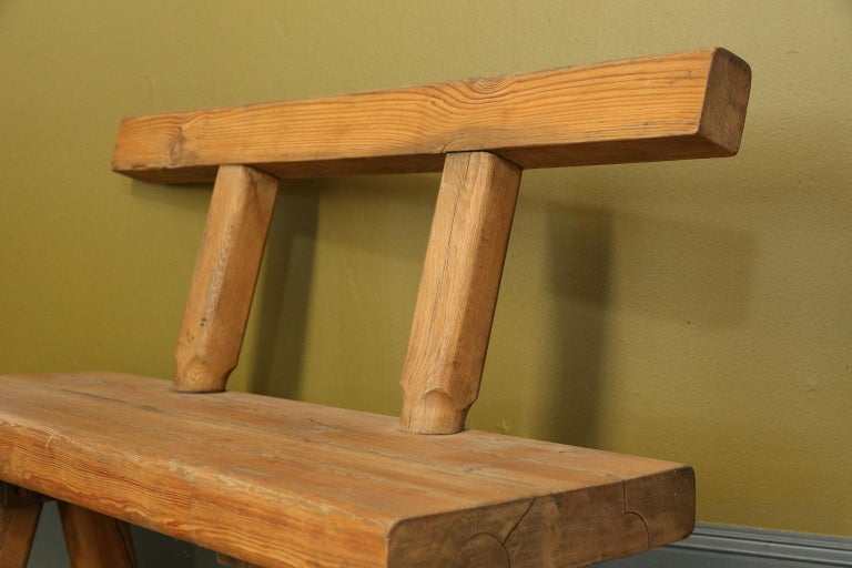 Early 20th Century Chunky Oak Rustic Bench with Primitive Hand-Made design  For Sale