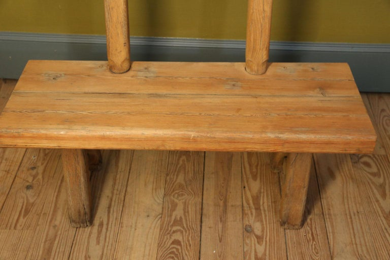 Iron Chunky Oak Rustic Bench with Primitive Hand-Made design  For Sale