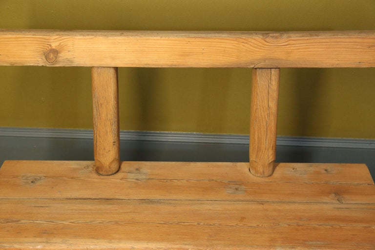 Chunky Oak Rustic Bench with Primitive Hand-Made design  For Sale 1