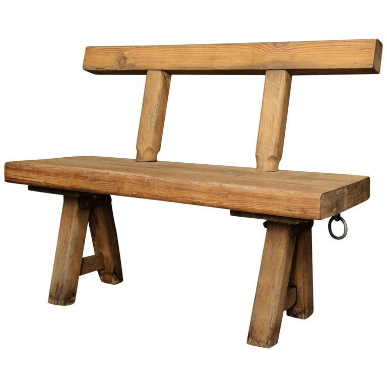 Chunky Oak Rustic Bench with Primitive Hand-Made design  For Sale