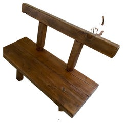 Chunky Oak Rustic Bench with Primitive Hand-Made design