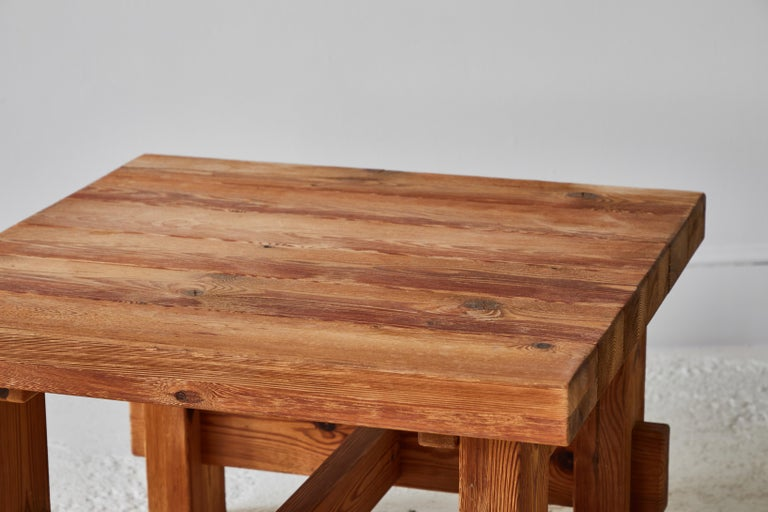 Chunky Pine Side Table For Sale 1